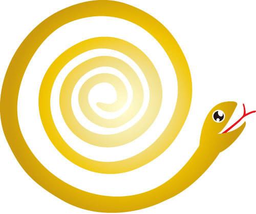 ●○● オレ流 イラレ道場 ●○●-年賀状で使うヘビのフリーイラスト